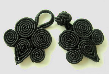 FG191 Black Coil Chinese Frog Closure Knots Buttons 5pr