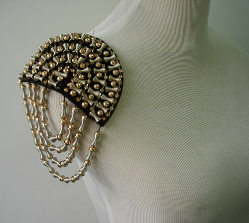 EP65 Fringed Chains Spike Studs Punk Rock Goth Epaulet Shoulder
