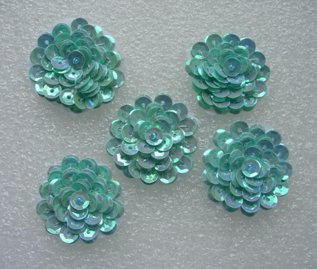 "FW320 Layered 1 3/8"" Flowers Sequined Beaded Applique Blue 5pcs"