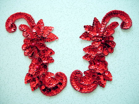 LR45 Sequin Bead Applique Left & Right Floral Red