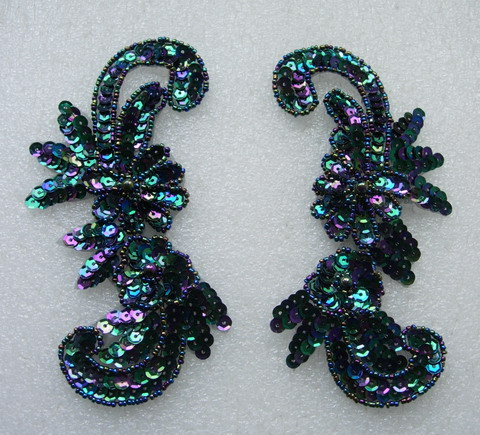 LR50 Sequin Bead Applique Left & Right Floral Black Iris