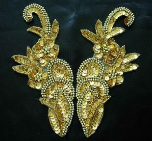 LR53 Sequin Bead Applique Left & Right Mirror Flower Gold