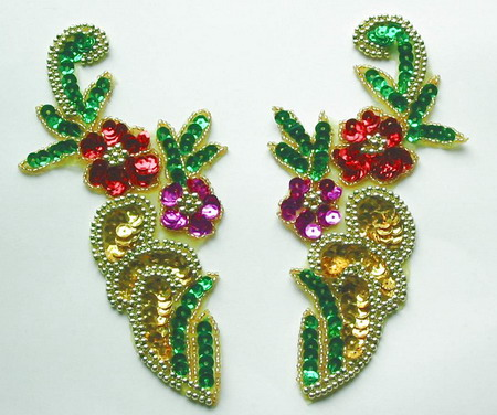 LR58 Sequin Bead Applique Left & Right Mirror Flower Multicolor