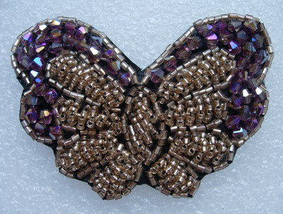SB184 3D Butterfly Rhineshones Beaded Jewelry Applique Hot Pink