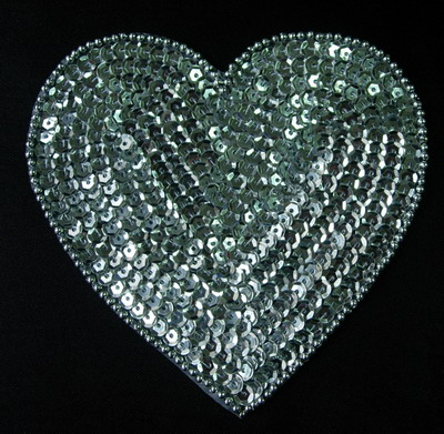 SY149 Heart Shape Sequined Beaded Applique Motif Silver