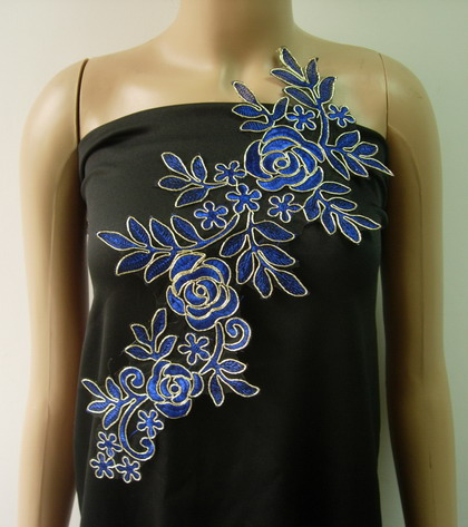 VF223 Trendy Floral Rose Metallic Trimming Lace Applique R.Blue