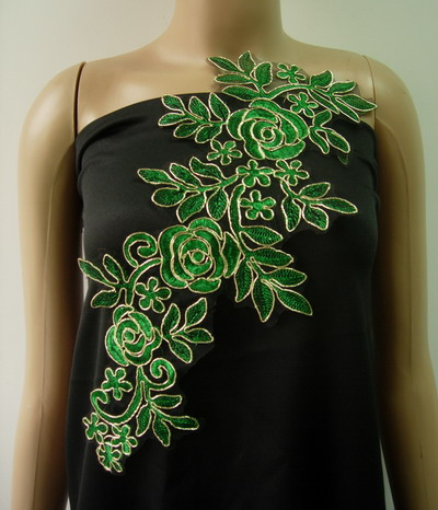 VF227 Trendy Floral Rose Metallic Trimming Lace Applique Green